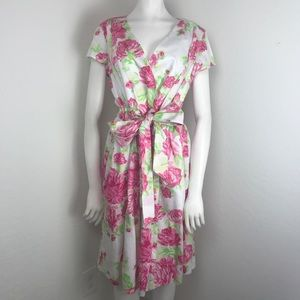 Isaac Mizrahi White Pink Floral Fit & Flare Dress